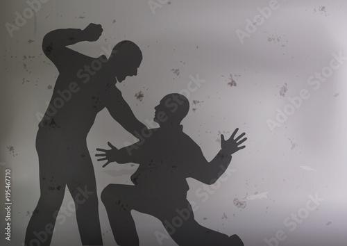 Photo bagarre - violence - agression - coup de poing - ennemi - brutal - victime - att