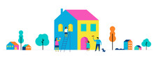 Family Is Painting Home, Concept Design. Summer Outdoor Scene With Colorful Minimalistic Flat Vector Illustration