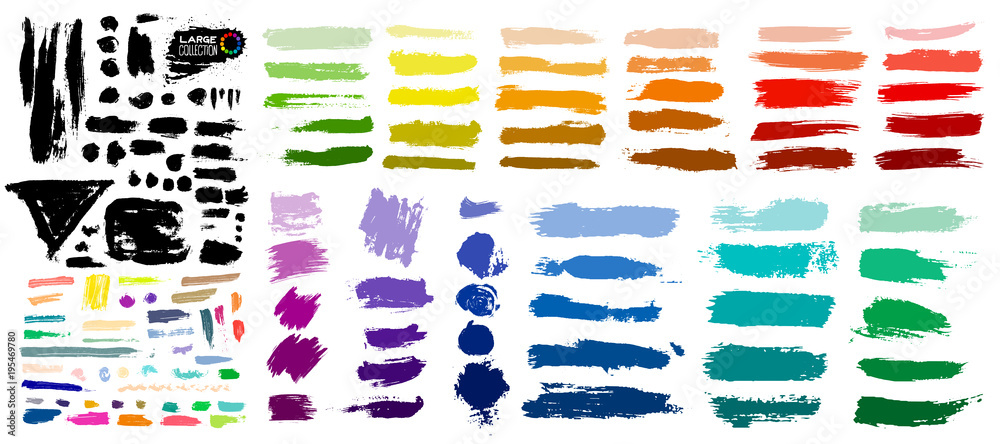 Fototapeta Big colorful of paint, ink brush strokes, brushes, lines, grungy. Dirty artistic design elements, boxes, frames. Vector illustration. Isolated on white background. Freehand drawing