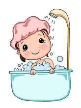 Cartoon Cute Bathing Child Girl