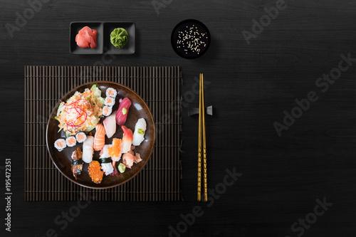 Fotomural  Sushi Set nigiri, sushi rolls and sashimi