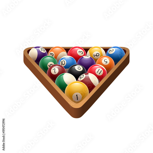 Fototapeta Pool billiards balls in triangle vector game icon