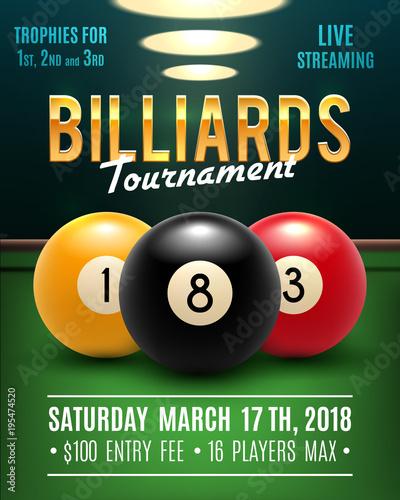 Obraz na plátne Pool billiards vector tournament poster