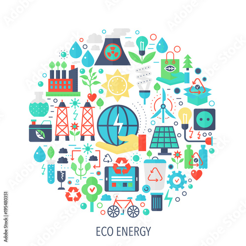 Eco Green Energy Flat Infographics Icons In Circle Color