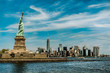 Statue of Liberty Monument in front of New York Skyline colorgrading