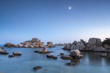 Rocks And Moon, Palombaggia Beach, Corsica, France, Mediterranean