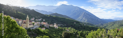 Panorama of village and mountains near Corte, Corsica, France, Europe