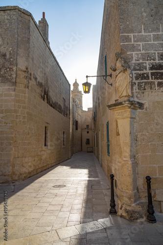 Foto op Canvas Smal steegje A quiet alley in the historic citadel of Mdina, Malta, Mediterranean, Europe