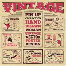 Vintage Pin Up Girls Hand Draw...