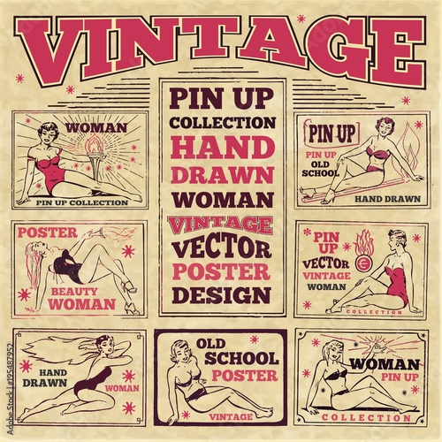 Vintage pin up girls hand drawn poster designs Wallpaper Mural