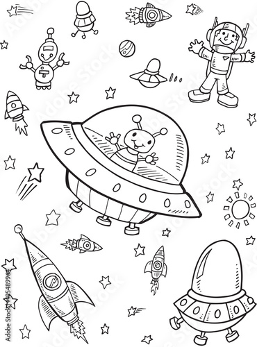 Poster Cartoon draw UFO Outer Space Vector Illustration Art