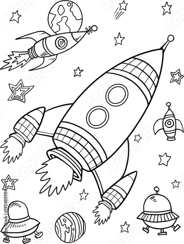 Photo sur Toile Cartoon draw Cute Rockets Space Vector Illustration Art