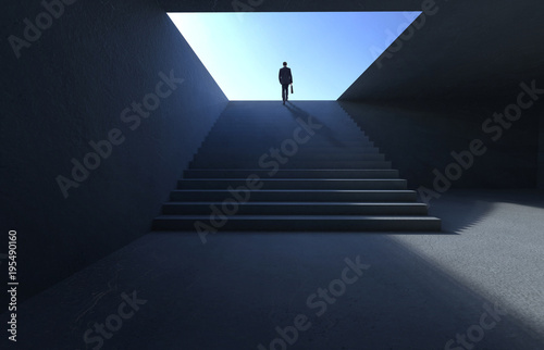 Successful businessman climbing on stair , ambitions concept . Canvas Print