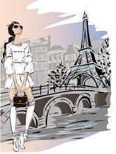 Fashion Woman Near Eiffel Towe...