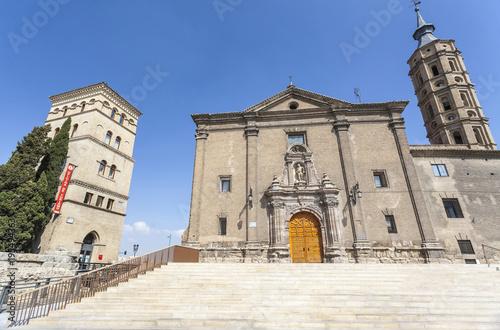 Monuments, church, Iglesia San Juan de los Panetes, baroque style and tower, Torreon de la Zuda, mudejar style. Zaragoza, Spain.