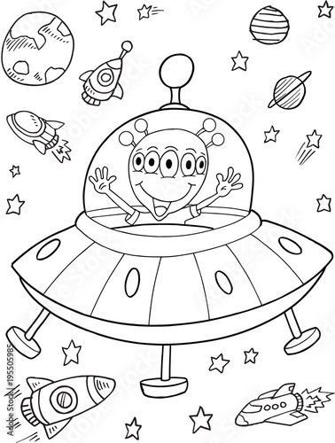 Poster Cartoon draw Alien UFO Space Vector Illustration Art
