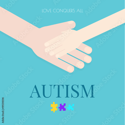 Autism Awareness Poster With Puzzle Pieces On Blue Background Adult