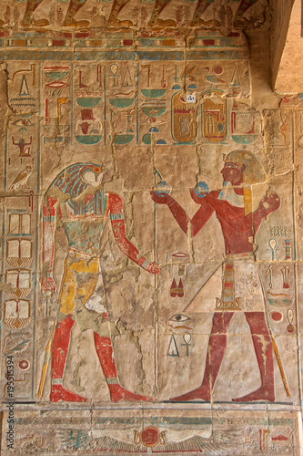Recess Fitting Egypt Hieroglyphics at Hatshepsut Temple Luxor