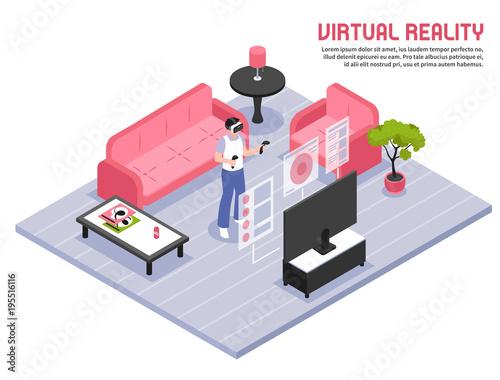 virtual reality isometric poster kaufen sie diese vektorgrafik und finden sie hnliche. Black Bedroom Furniture Sets. Home Design Ideas