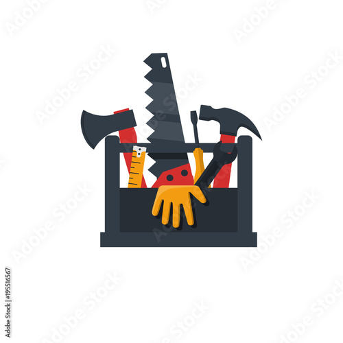 toolbox flat design icon vector illustration cartoon style set