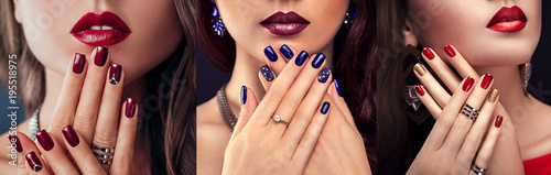 Obraz na plátně Beautiful woman with different make-up and manicure