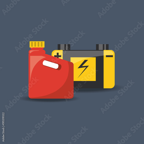 Jerrycan And Car Battery Icon Over Blue Background Colorful Design