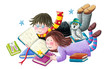canvas print picture - Boy and girl enjoy reading books