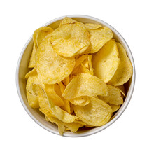 Chips In A Plate Isolated On W...