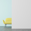 Leinwanddruck Bild - Blue and white living room, yellow sofa