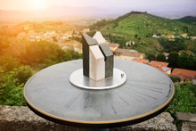Close-up Of Marble Toposcope With Italian Toscana Landscape. Direction Indicator. Navigation System. Sunset Time. Travel Concept