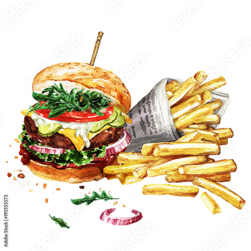 Canvas Prints Watercolor Illustrations Traditional hamburger with fries. Watercolor Illustration.