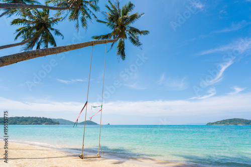 Foto op Canvas Tropical strand Swing hang from coconut palm tree over summer beach sea in Phuket ,Thailand. Summer, Travel, Vacation and Holiday concept .
