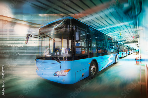 Foto  New energy electric bus arranged in the workshop