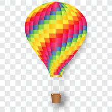 Rainbow Hot Air Balloon Isolat...