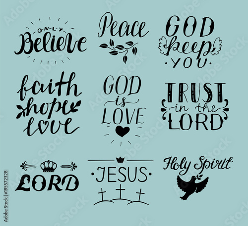 Trust In God Quotes | Set Of 9 Hand Lettering Christian Quotes Jesus Holy Spirit Trust