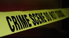 Crime Scene In Front Of A Residential Building A Home Burglarized