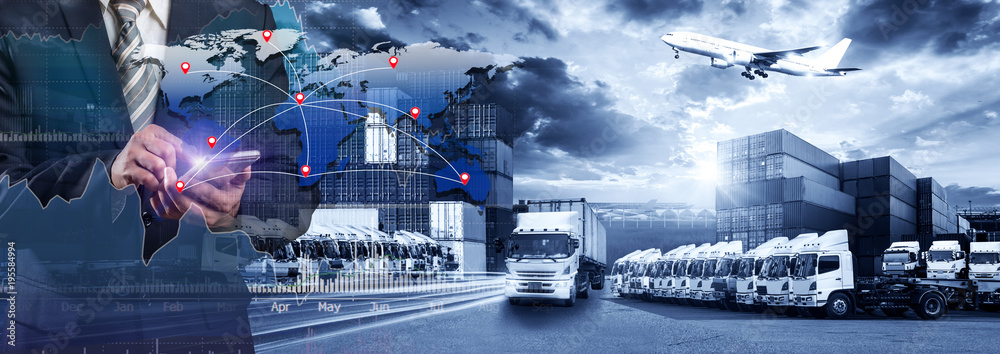 Fototapety, obrazy: World map with logistic network distribution, Logistic and transport concept in front Industrial Container Cargo freight ship for Concept of fast or instant shipping, Online goods orders worldwide