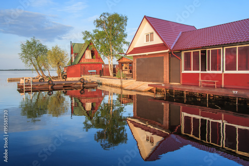 City on the water Sauna and cafe on the shore of Lake Seliger, Russia