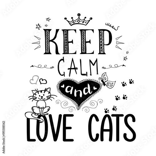 Śmieszne zwierzęta i napisy - zachowaj spokój i kochaj koty