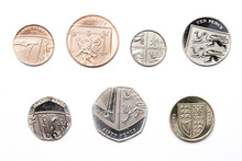 British Coins On A White Backg...