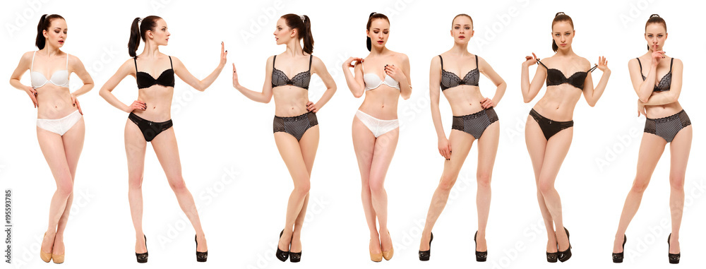 Fototapeta Beautiful girl in lingerie showing different poses standing on white background. Collage of photos of one model