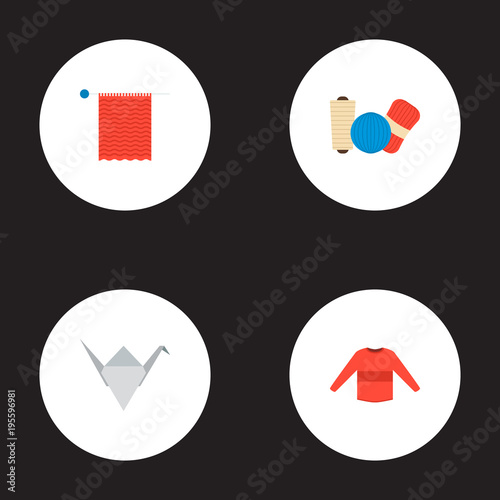 Set of handcraft icons flat style symbols with sweater, origami