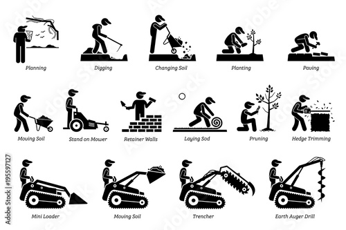 Poster Blanc Landscaping and Horticulture. Icons depict landscaper and gardener working activities in the garden lawn.