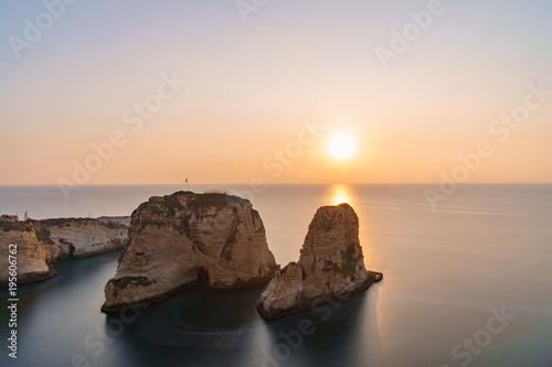 Papel de parede Magical sunset on Raouche, Pigeons' Rock. In Beirut, Lebanon