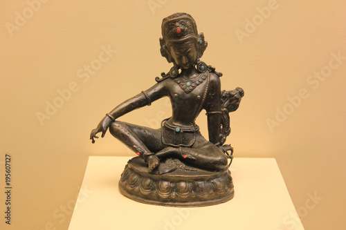 Indra Hindu God Statue. Indra is a Vedic Deity in Hinduism, a Guardian Deity in Buddhism, and the King of the Highest Heaven Called Saudharmakalpa in Jainism. Religious Hinduism Symbols Concept.