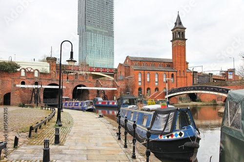 Manchester canal boats Canvas Print