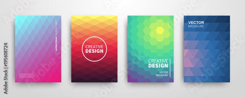 Fototapeta Modern summer futuristic abstract geometric covers set obraz