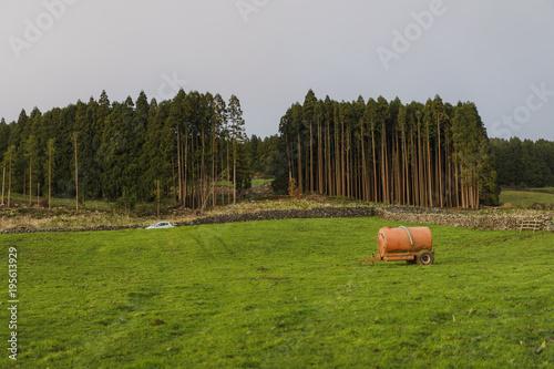 Barrel placed in green field