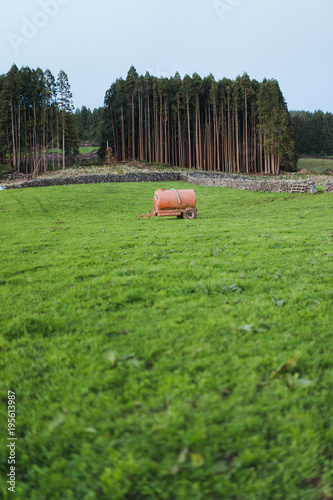 Foto op Plexiglas Cultuur Barrel placed in green field