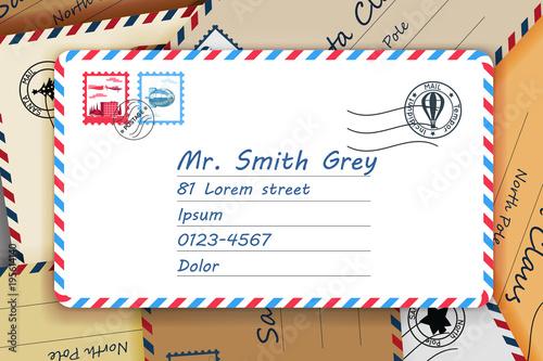 Pile Of Mailing Postal Address Mail Letters Post Stamp Template Vector Illustration